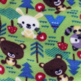 Tissu Doudou Petite forêt - vert x 31cm