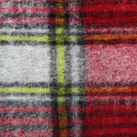 Tissu jersey maille laine Scotland - rouge x 10cm