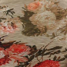 Tissu satiné Roses plissé - beige x 34cm