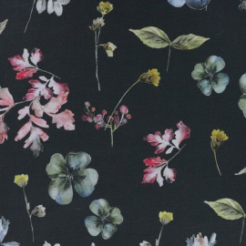 Small Flowers Digital print polyester satin fabric - black/multicolor x 10cm