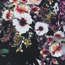Tissu satin polyester impression digitale Bloomy - noir/violet x 35cm