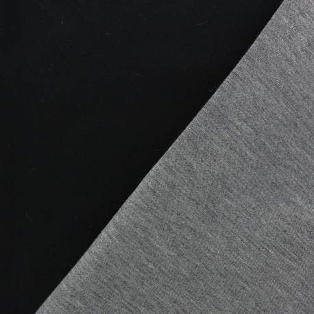 Tissu Néoprène envers jersey de viscose noir/gris x 10cm