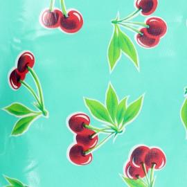 Tissu toile cirée Cerises - turquoise x 30cm
