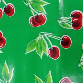 Tissu toile cirée Cerises - vert x 30cm