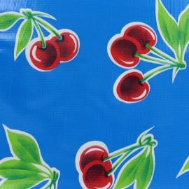 Tissu toile cirée Cerises - bleu x 30cm