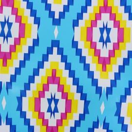 Tissu toile cirée Kelim - bleu x 20cm