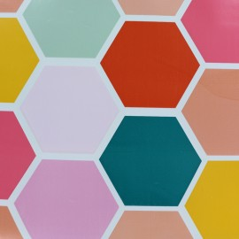 Oilcloth fabric Honeycomb - multicolore x 32cm