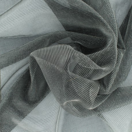 Tissu voile lurex - gris métallisé x 10cm