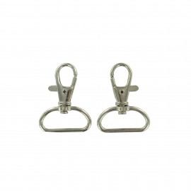Swivel round metal hook 25 x 40 mm - silver