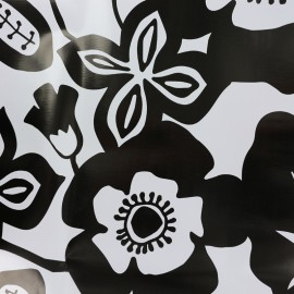 Oilcloth fabric Flower - black and white x 34cm