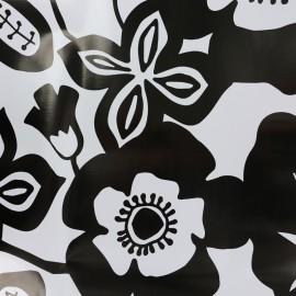 Tissu toile cirée Flower - noir et blanc x 34cm