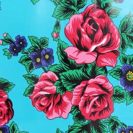 Tissu toile cirée Manolo - turquoise x 22cm