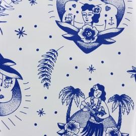 Tissu toile cirée Tattoo - blanc x 37cm