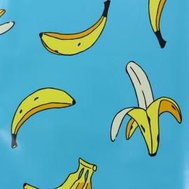 Tissu toile cirée Bananas - bleu x 26cm