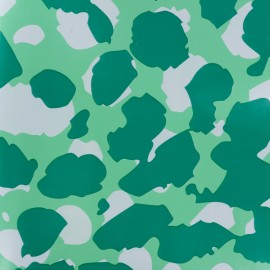 Tissu toile cirée Leopard - vert x 10cm