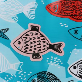 Oilcloth fabric Fish - blue x  37cm