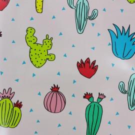 Tissu toile cirée Cactus - rose x 30cm