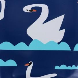 Oilcloth fabric Swan - blue x 30cm
