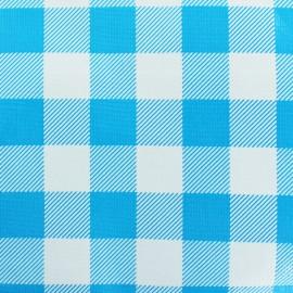 Tissu toile cirée Check blue - bleu x 10cm