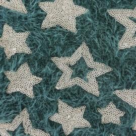Tissu Maille étoiles paillettes - vert/doré x 10cm