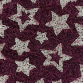 Stars sequined knit fabric - red