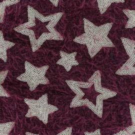 ♥ Coupon 120 cm X 130 cm ♥ Tissu Maille étoiles paillettes - rouge/doré