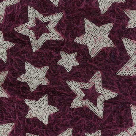 Tissu Maille étoiles paillettes - rouge x 10cm