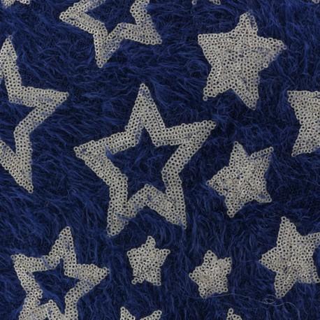 Tissu Maille étoiles paillettes - bleu marine