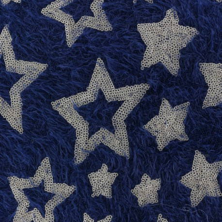Stars sequined knit fabric - navy blue x 10cm