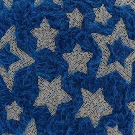 Tissu Maille étoiles paillettes - bleu canard x 10cm
