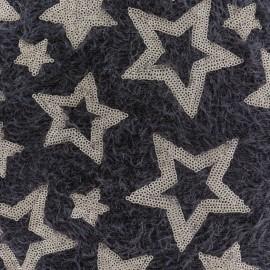 Tissu Maille étoiles paillettes - marron/doré x 10cm