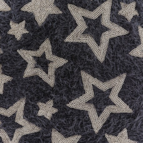 Stars sequined knit fabric - brown