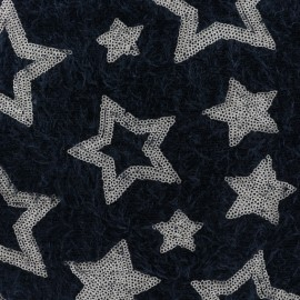 Stars sequined knit fabric - black x 10cm