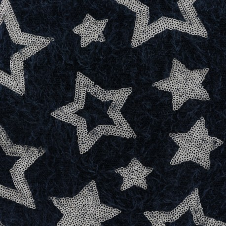 Stars sequined knit fabric - black