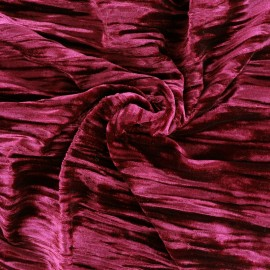 ♥ Coupon 150 cm X 140 cm ♥  Tissu Oeko-tex velours stretch Froissé - framboise