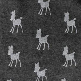 Tissu Sweat Poppy Bambi Glitter - gris anthracite / gris clair x 10cm