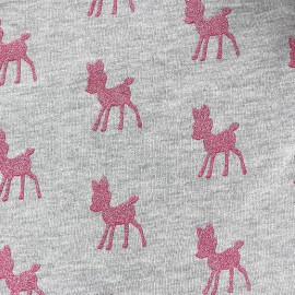 Tissu Oeko-Tex Sweat Poppy Bambi Glitter - gris / rose x 10cm