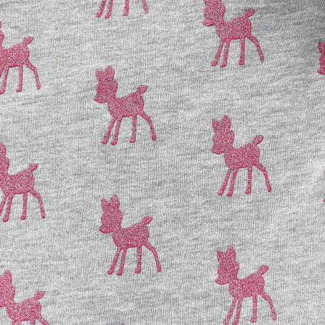 Poppy Sweat fabric Bambi Glitter - light grey / pink x 10cm