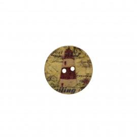 Bouton bois rond Aspect vieilli imprimé - Marin phare