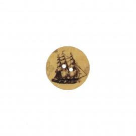 Bouton bois rond Aspect vieilli imprimé - Marin boat
