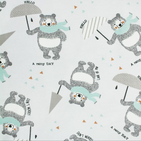 In a rainy day Jersey fabric - grey  x 31cm