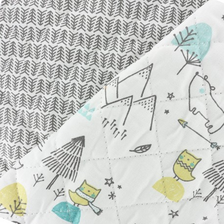 Reversible quilted fabric Mountain life - white x 41cm