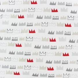 ♥ Coupon tissu 30 cm X 140 cm ♥ Tissu Jersey King and Queens - blanc