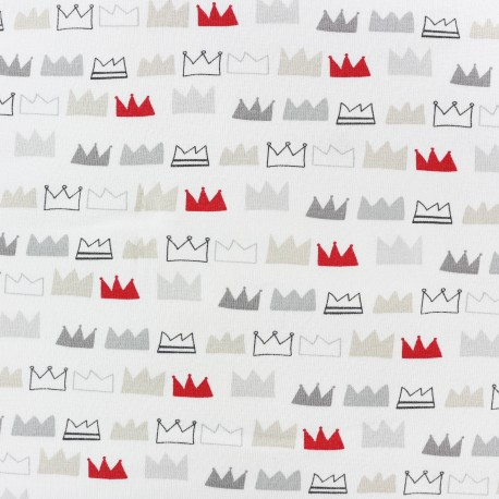 King and Queens Jersey fabric - white  x 10cm