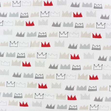 Tissu Jersey King and Queens - blanc  x 10cm