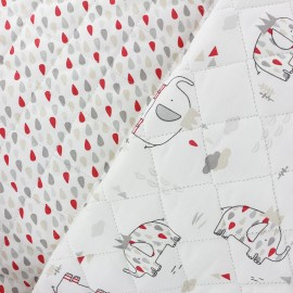 Reversible quilted fabric King Elephant - white x 31cm