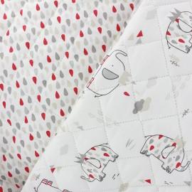 Tissu matelassé réversible L'Eléphant Roi - blanc x 31cm