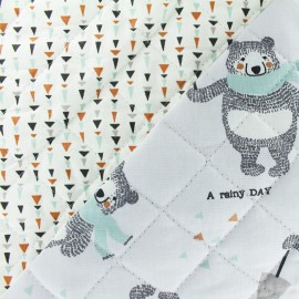 ♥ Coupon 31 cm X 150 cm ♥  Reversible quilted fabric  Bears in rainy day - grey