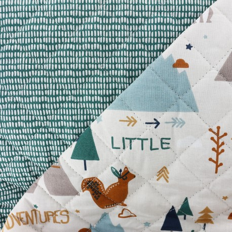 Reversible quilted fabric  Little adventures - white x 30cm