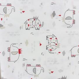 Tissu coton L'Eléphant Roi - blanc x 31cm